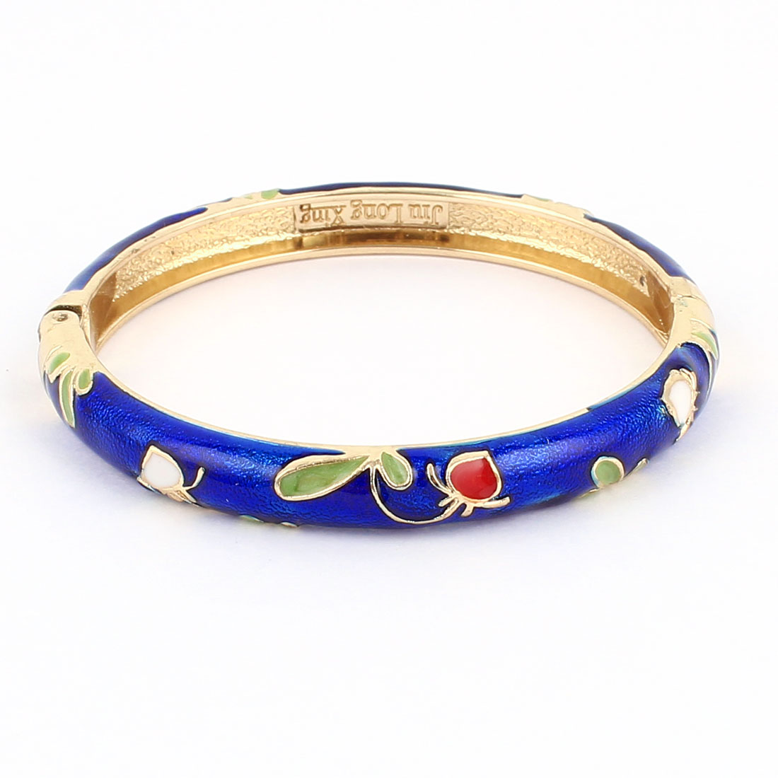 Lady 2.3-inch Dia Royal Blue Hinged Wrist Enamel Bracelet Bangle