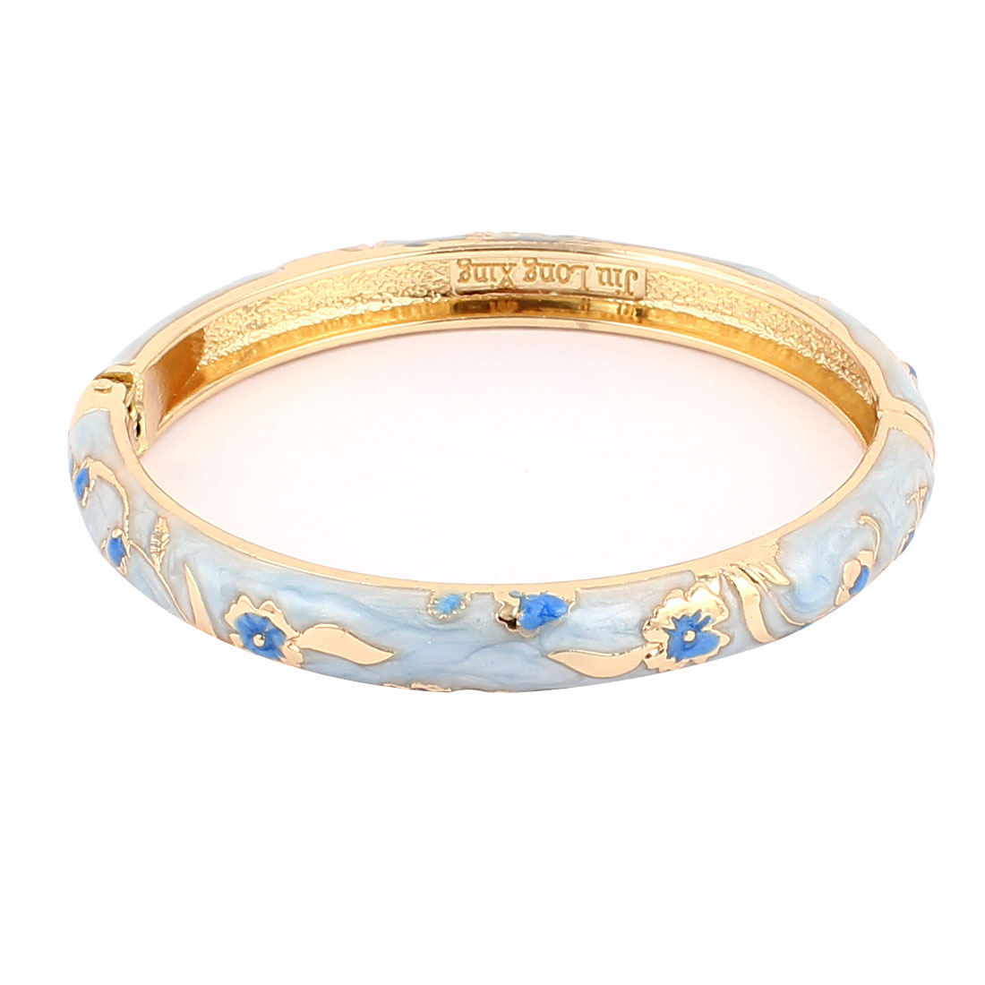 Lady Girl 2.3-inch Dia Light Blue Hinge Wrist Enamel Bracelet Bangle