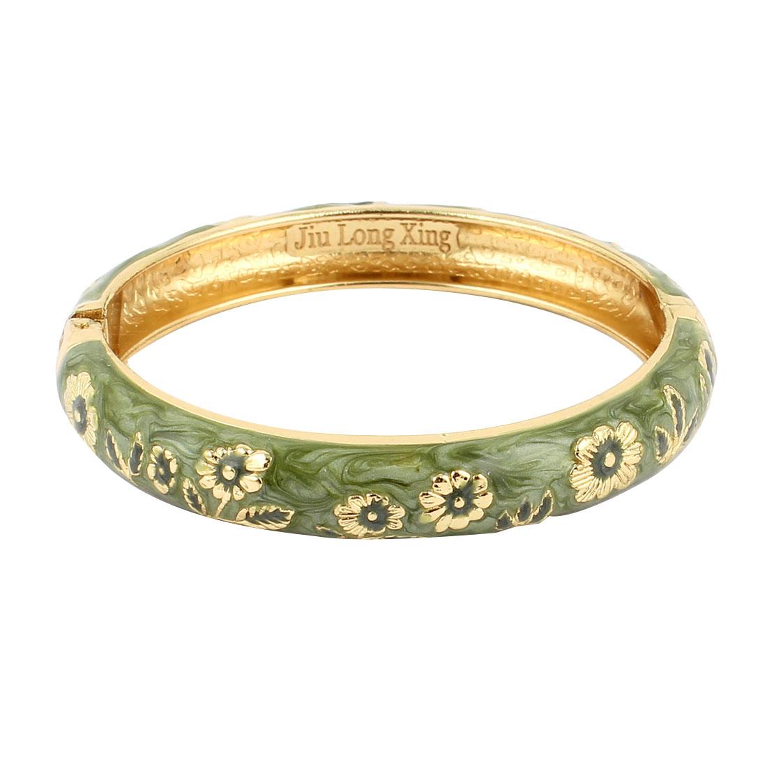 Women Chinese Style Hinge Wrist Enamel Bracelet Bangle Olive Green 2.7-inch Dia
