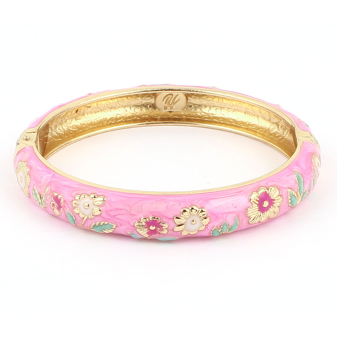 Women 2.7-inch Dia Pink Hinged Wrist Enamel Bracelet Bangle