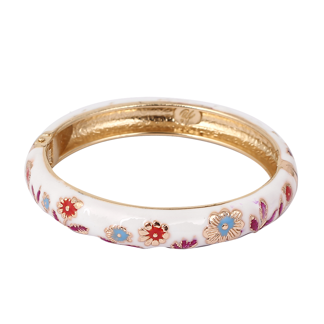 Women Girls 2.7-inch Dia White Hinged Wrist Enamel Bracelet Bangle