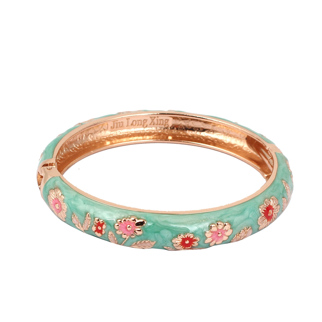 Women Girls 2.7-inch Dia Teal Hinge Wrist Enamel Bracelet Bangle