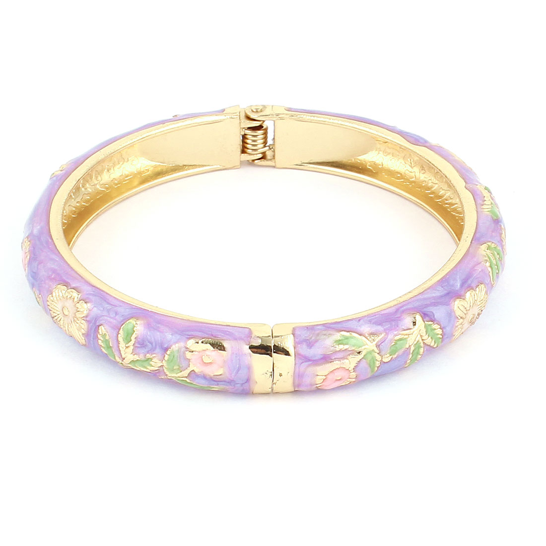 Women 2.7-inch Dia Light Purple Hinged Wrist Enamel Bracelet Bangle