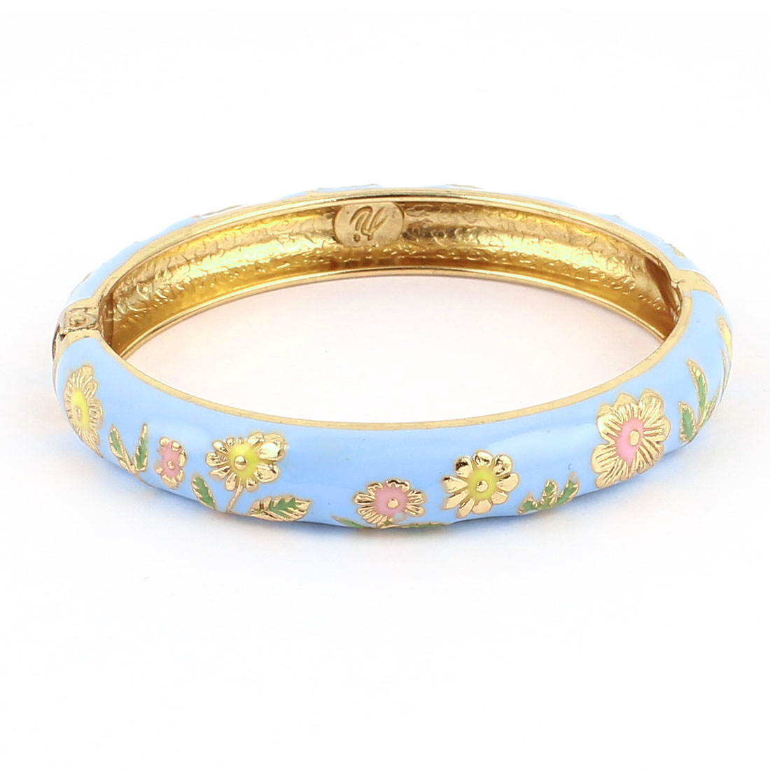 Women 2.7-inch Dia Baby Blue Hinge Wrist Enamel Bracelet Bangle