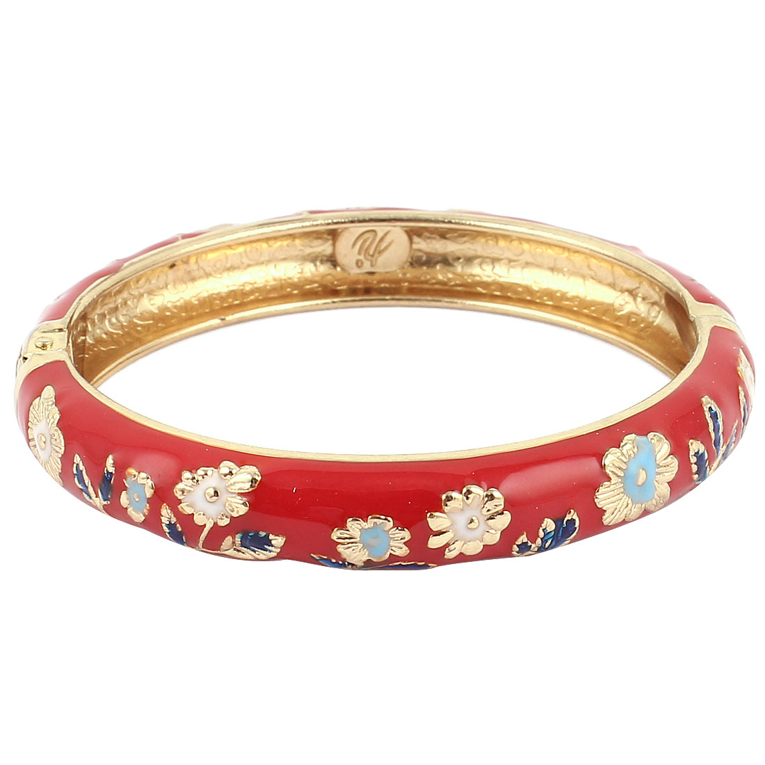 Women Girls 2.7-inch Dia Red Hinged Enamel Bracelet Bangle