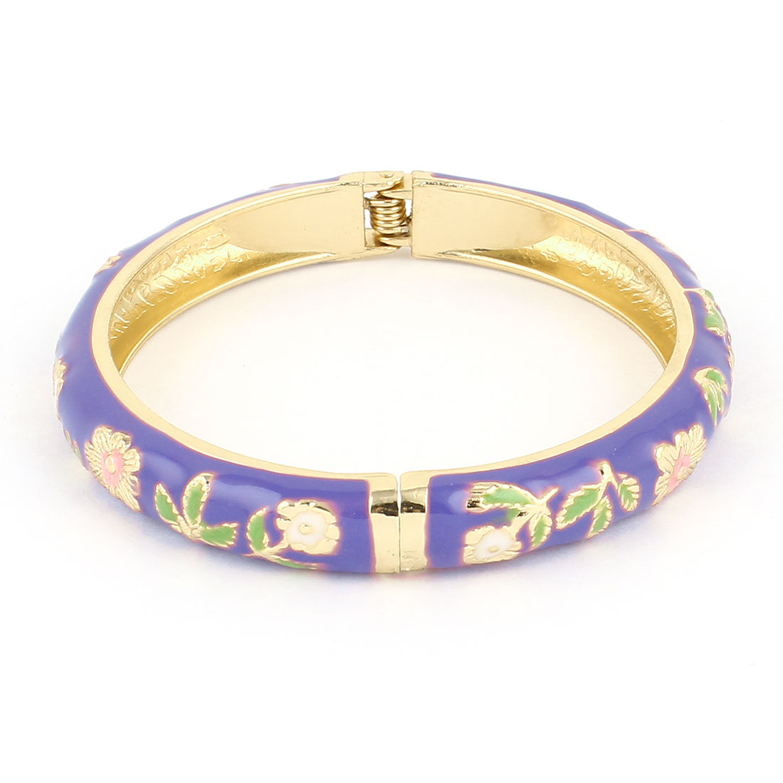 Women 2.7-inch Dia Purple Hinge Wrist Enamel Bracelet Bangle