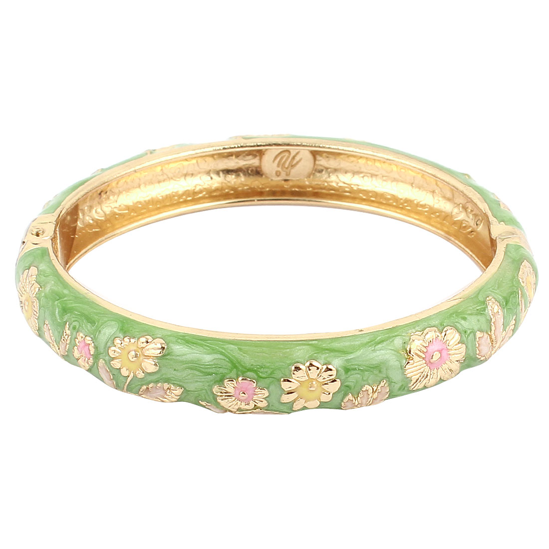 Women 2.7-inch Dia Green Hinge Wrist Enamel Bracelet Bangle