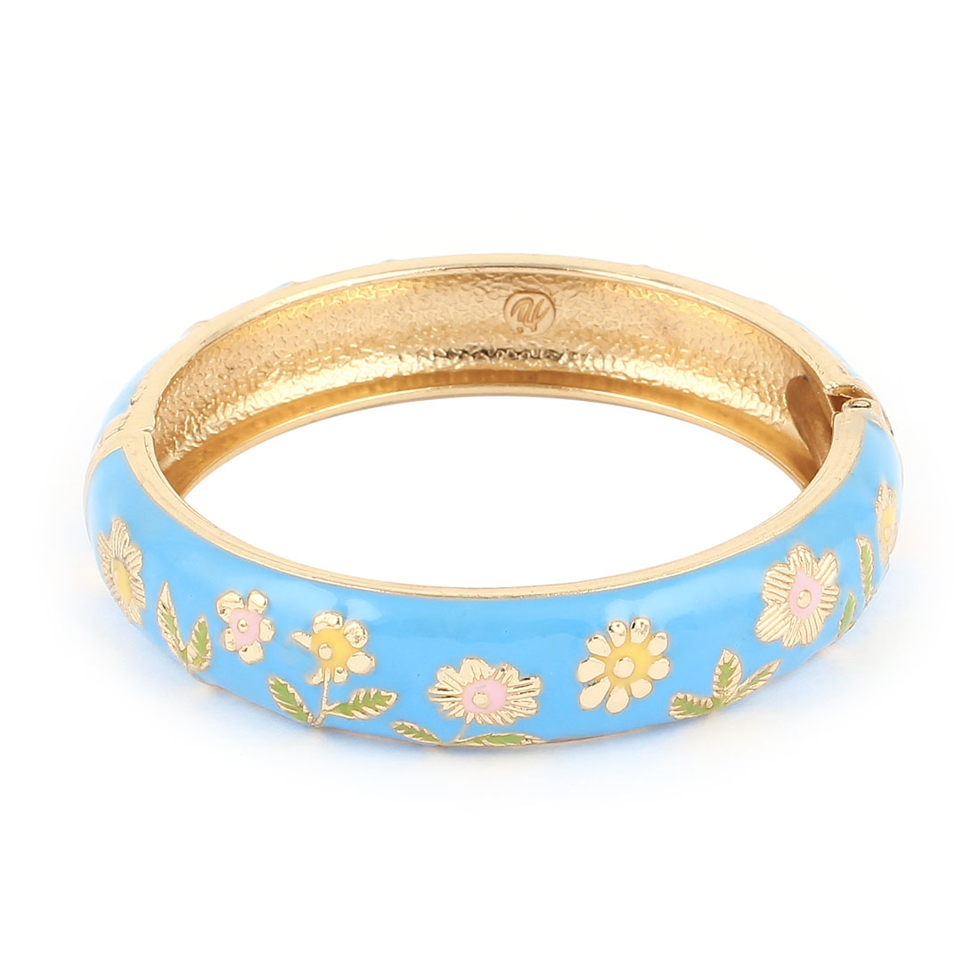 Lady 2.8-inch Dia Sky Blue Hinge Wrist Enamel Bracelet Bangle