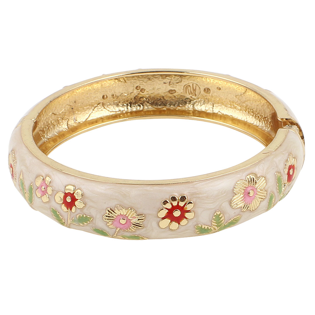 "Lady Girl 2.8"" Dia Round Shape Beige Hinged Wrist Enamel Bracelet Bangle"