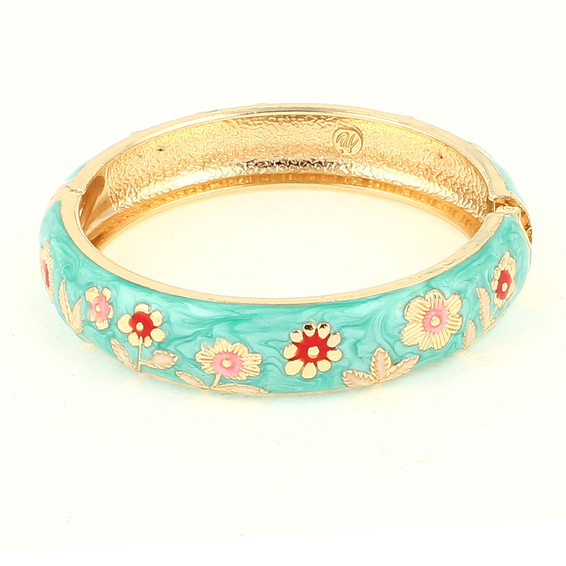 Lady Girl 2.8-inch Dia Light Green Hinge Wrist Enamel Bracelet Bangle
