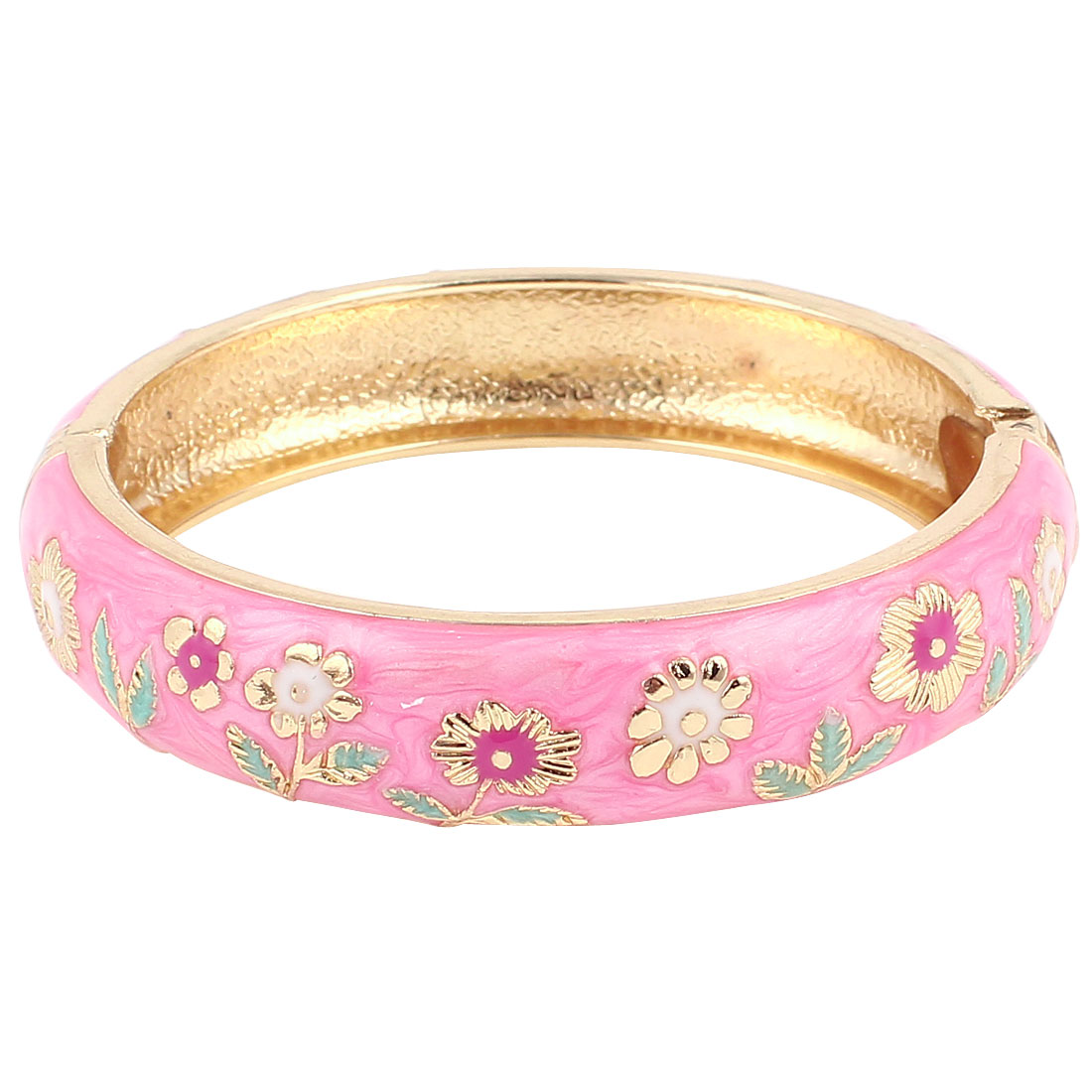 Lady 2.8-inch Dia Pink Hinged Metal Wrist Enamel Bracelet Bangle