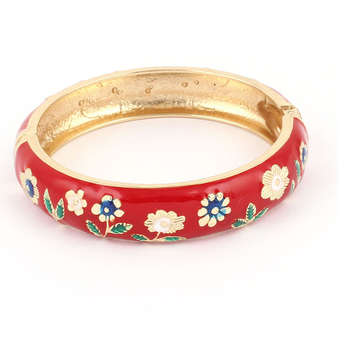 Lady 2.8-inch Dia Red Metal Hinge Wrist Enamel Bracelet Bangle
