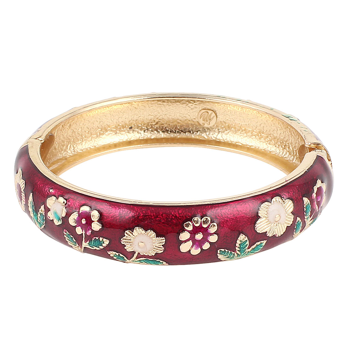 Lady Girl 2.8-inch Dia Burgundy Hinge Wrist Enamel Bracelet Bangle