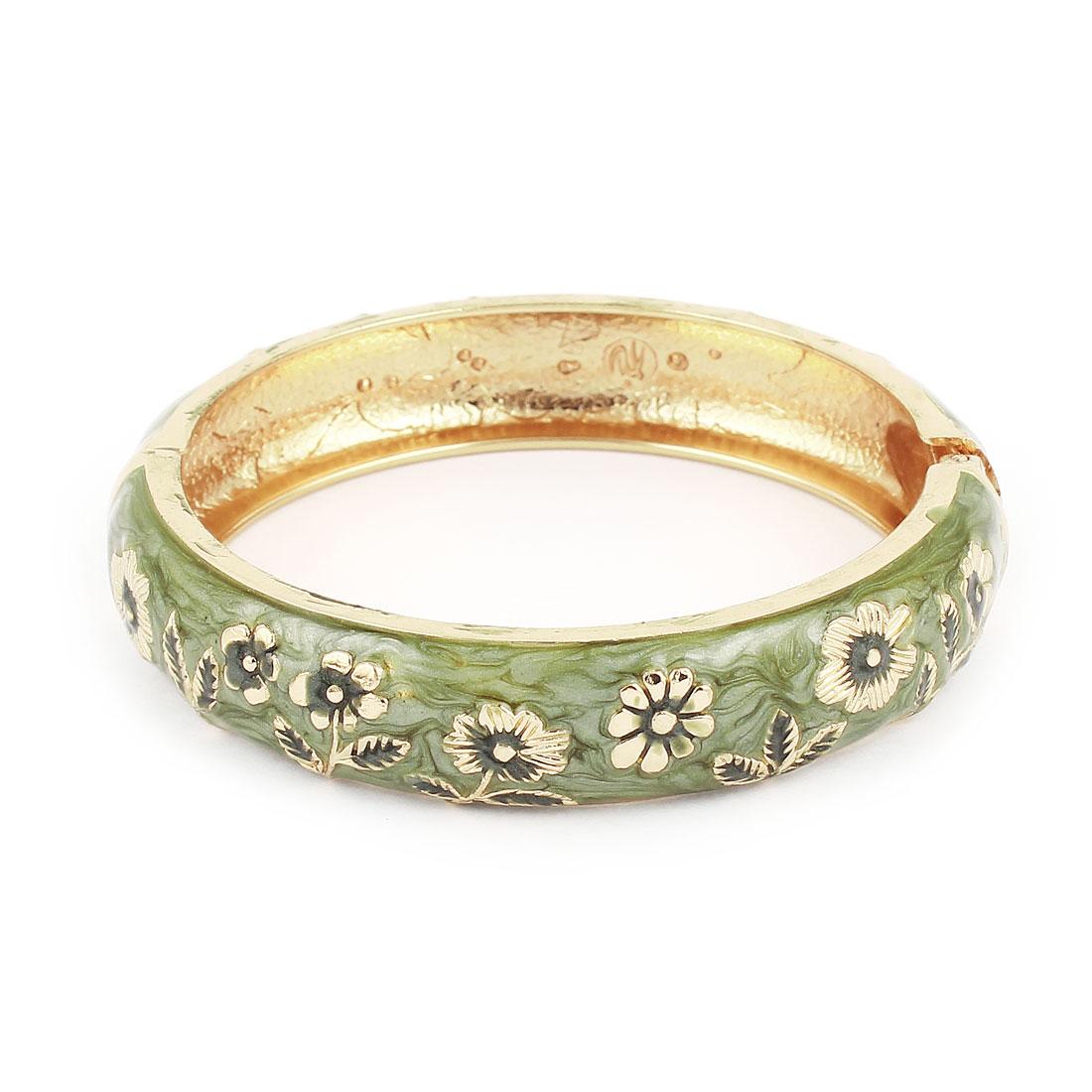 Lady 2.8-inch Dia Olive Green Hinge Wrist Enamel Bracelet Bangle