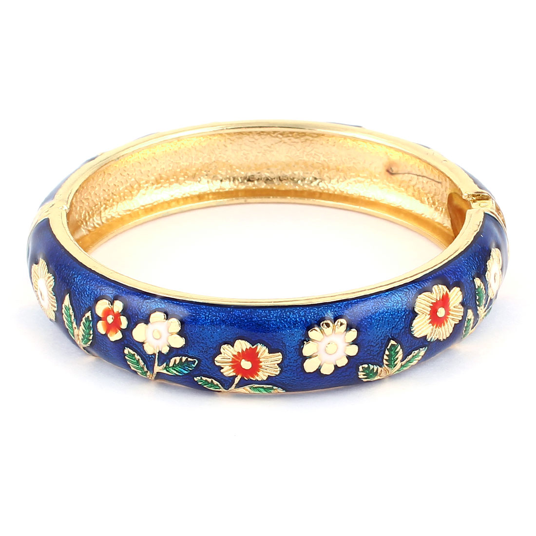 Lady 2.8-inch Dia Dark Blue Hinge Wrist Enamel Bracelet Bangle