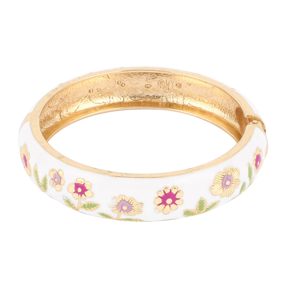 Lady 2.8-inch Dia White Hinge Wrist Enamel Bracelet Bangle