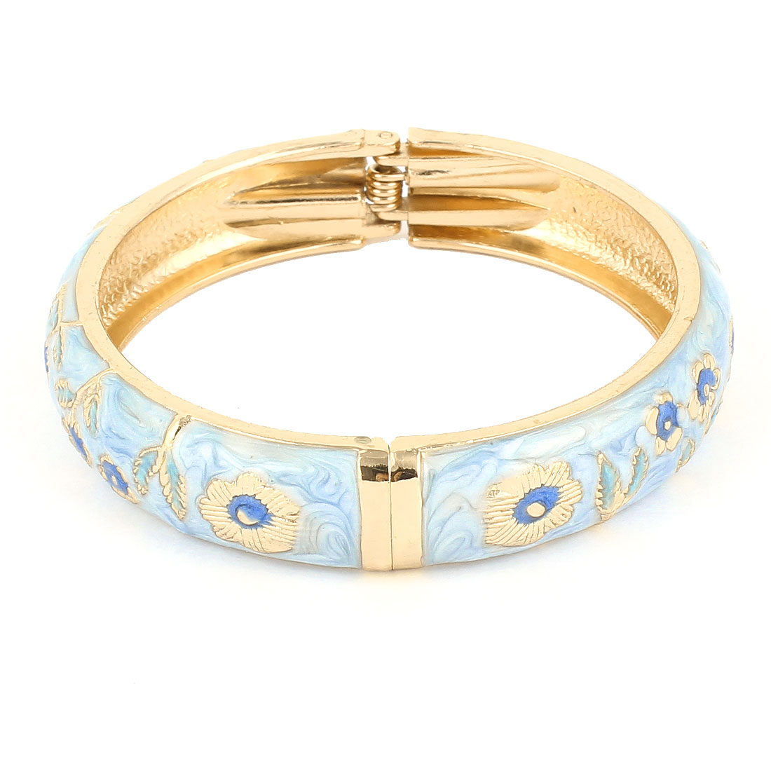 "Ladies 2.8"" Light Blue Metal Hinge Wrist Enamel Bracelet Bangle"