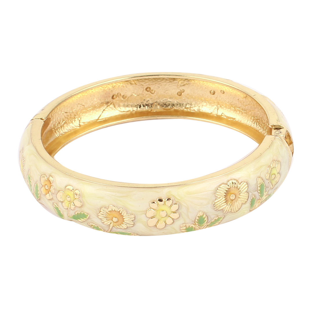Lady Girl 2.8-inch Dia Champagne Color Hinged Wrist Enamel Bracelet Bangle