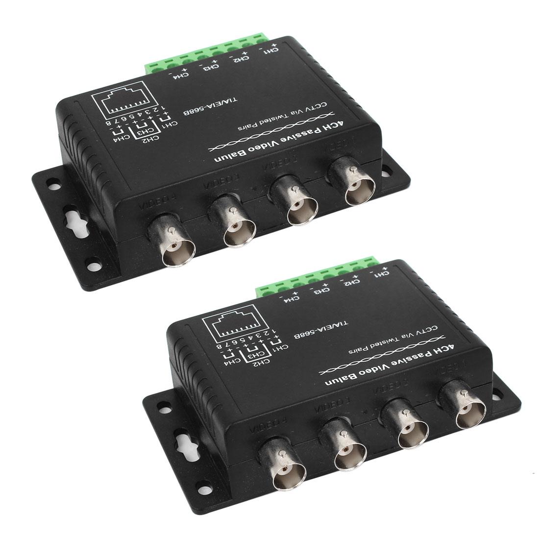 2pcs CCTV RJ45 4 BNC 4Ch Passive Receiver Transmitter UTP Video Balun Black