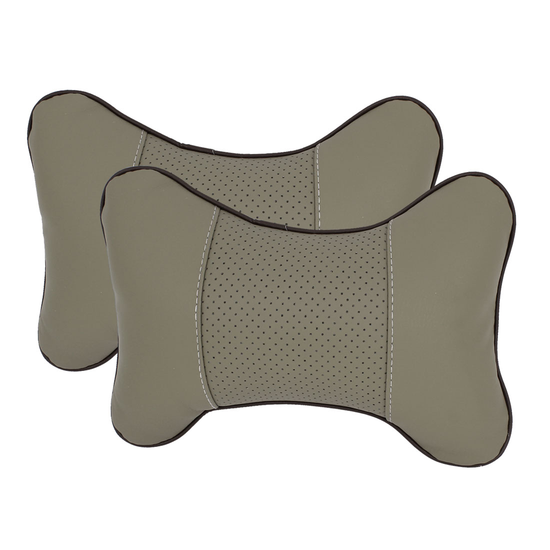 Pair Gray Bone Shaped Dots Pattern Elastic Band Pillow Neck Rest Support Cushion