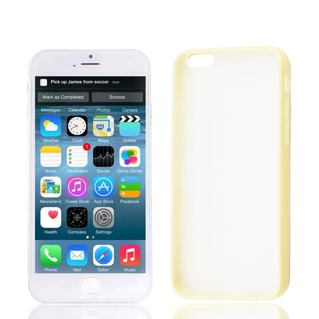 Yellow TPU Frame Clear Scrub Hard Back Cover Case Protector for Apple iPhone 6 6G 4.7""