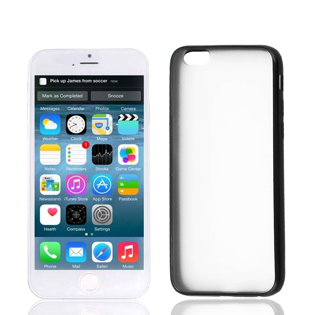 Black TPU Frame Clear Scrub Hard Back Cover Case Protector for Apple iPhone 6 4.7""