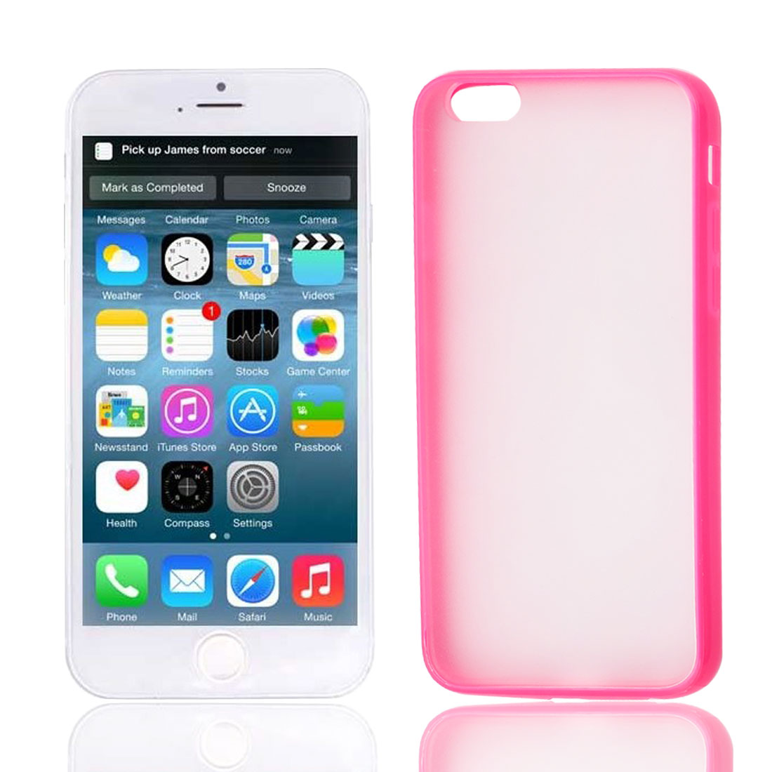 Red TPU Frame Clear Scrub Hard Back Cover Case Shell Protector for Apple iPhone 6G 4.7""