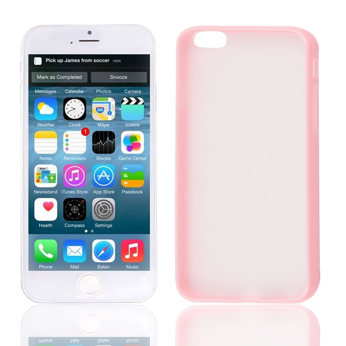 Pink TPU Frame Clear Scrub Hard Back Cover Case Shell Protector for Apple iPhone 6G 4.7""