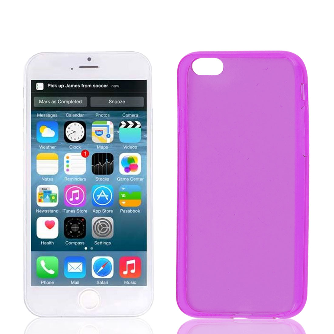 Clear Fuchsia Soft Plastic Case Cover Protector for Apple iPhone 6 6G 4.7""