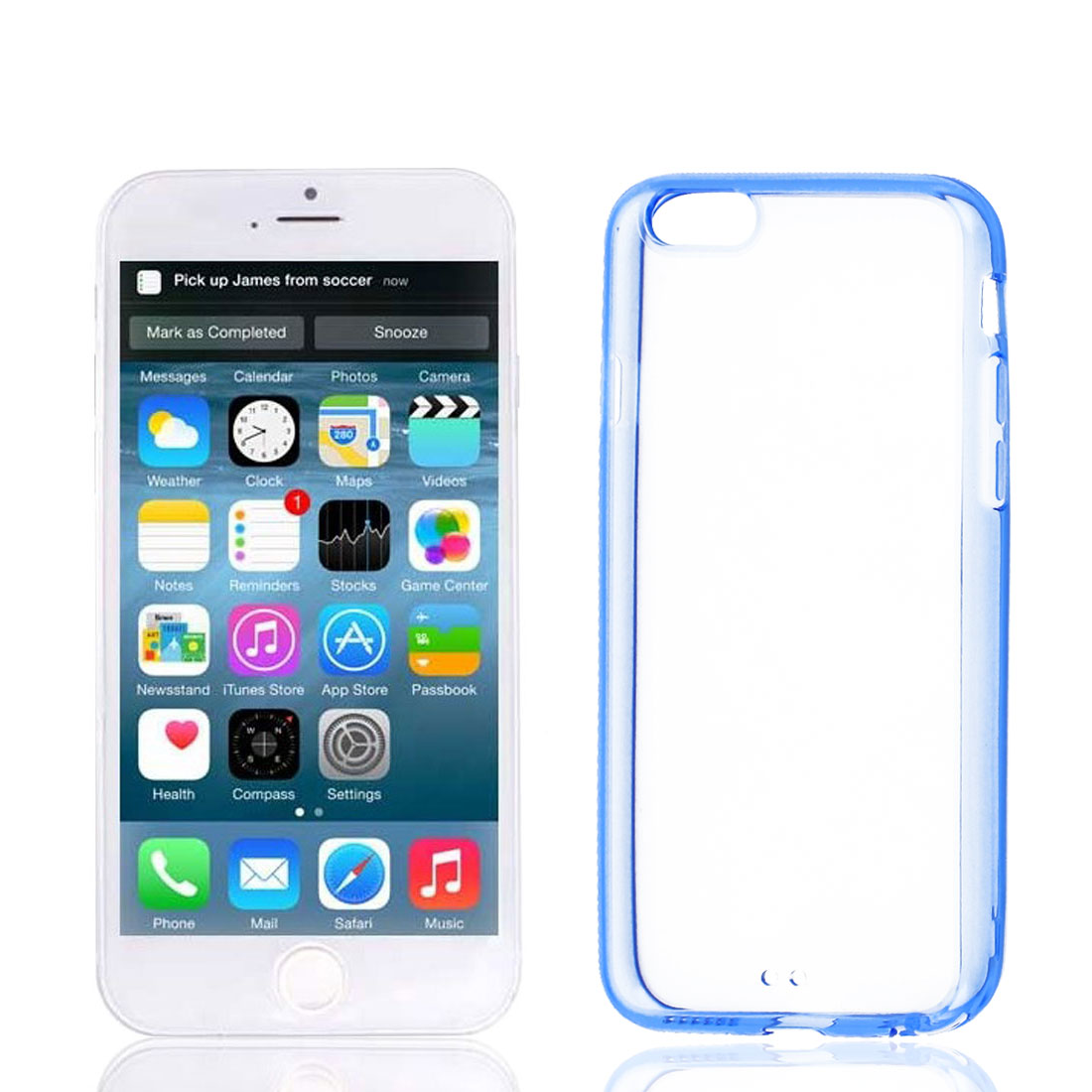 Clear Blue Hard Back Acrylic Cover Case Protector for Apple iPhone 6 6th 4.7""