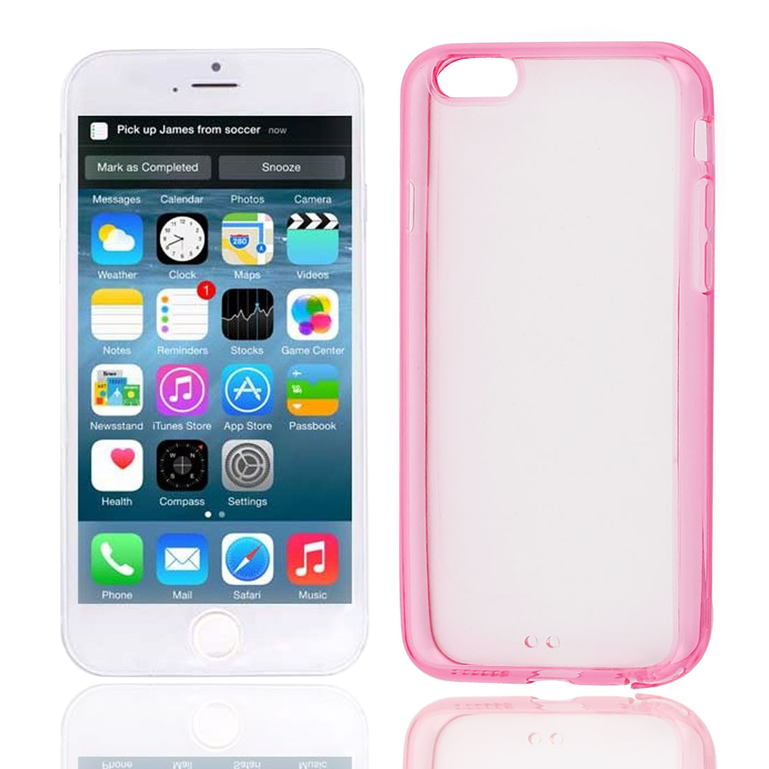 Clear Fuchsia Hard Back Acrylic Cover Case Protector for Apple iPhone 6 6th 4.7""