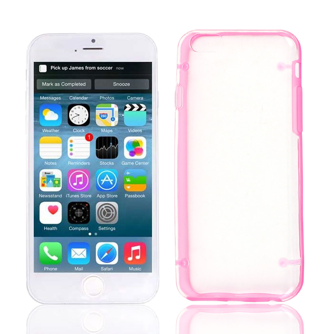 Clear Back Hard Plastic Glow in Dark Case Cover Fuchsia Protector for Apple iPhone 6G 4.7""