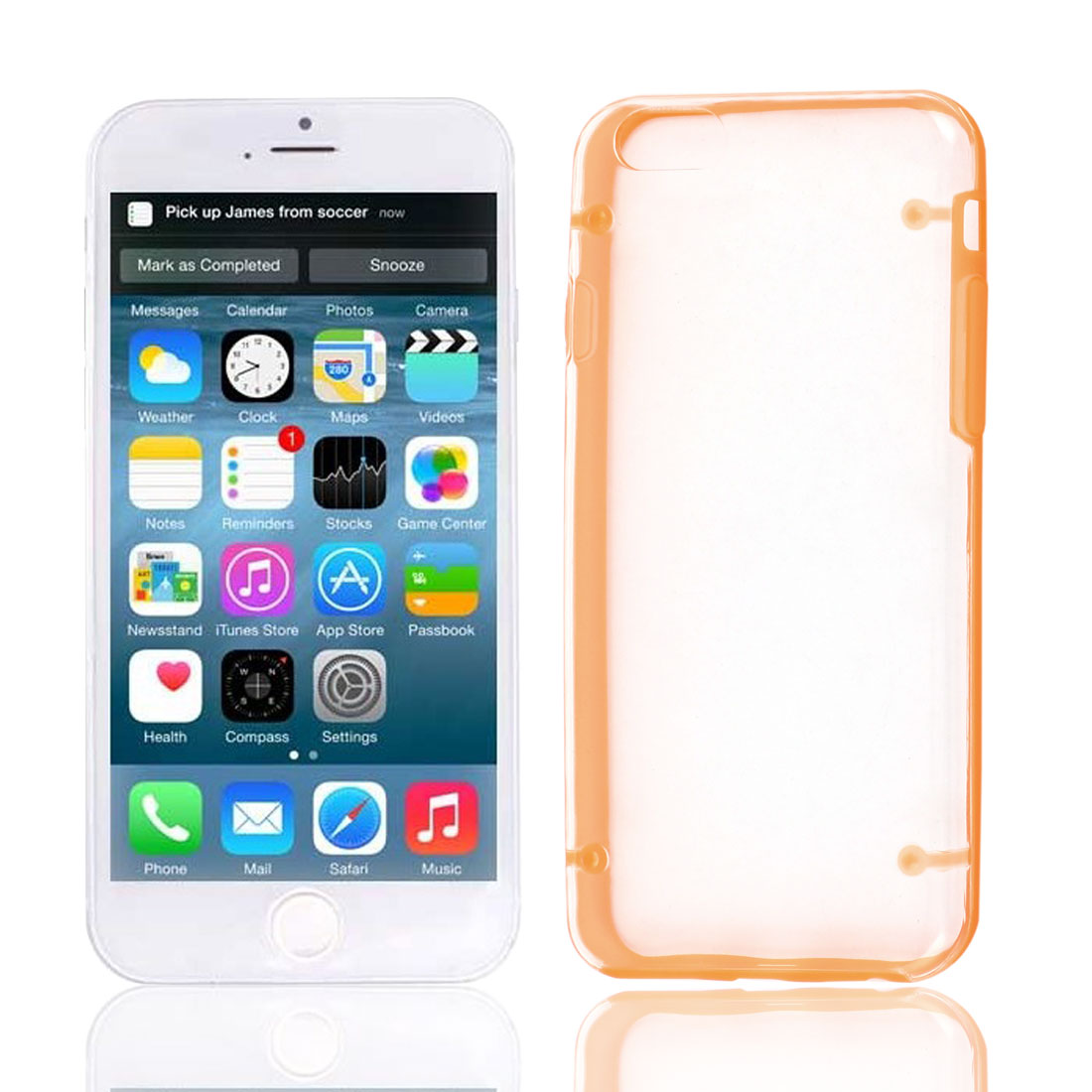 Clear Back Hard Plastic Glow in Dark Case Cover Orange Protector for Apple iPhone 6 4.7""