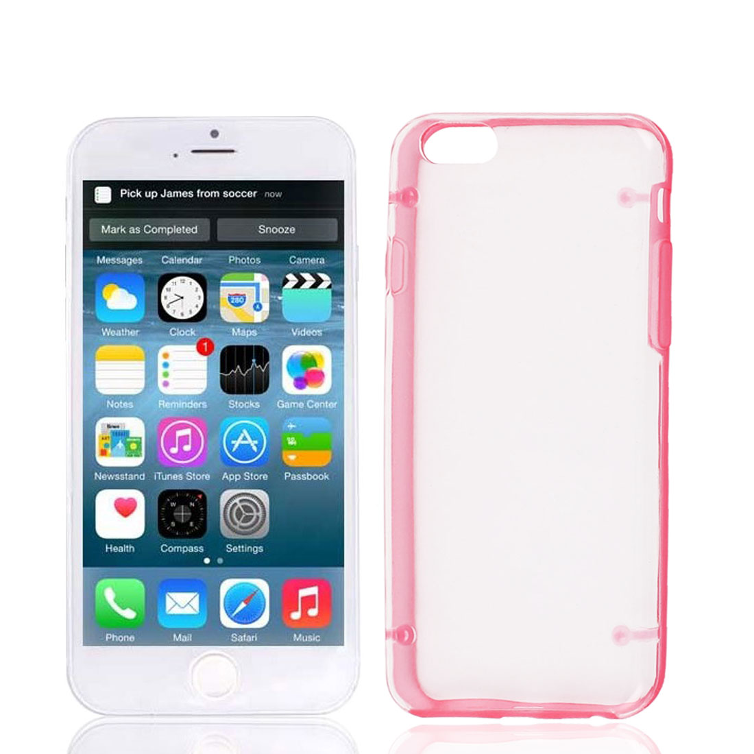 Clear Back Hard Plastic Glow in Dark Case Cover Red Protector for Apple iPhone 6 4.7""