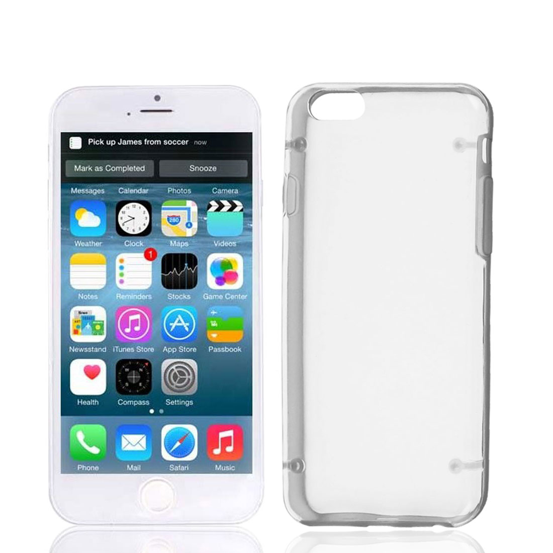"""Clear Back Glow in Dark Hard Plastic Case Cover Protector Gray for Apple iPhone 6 4.7"""""""