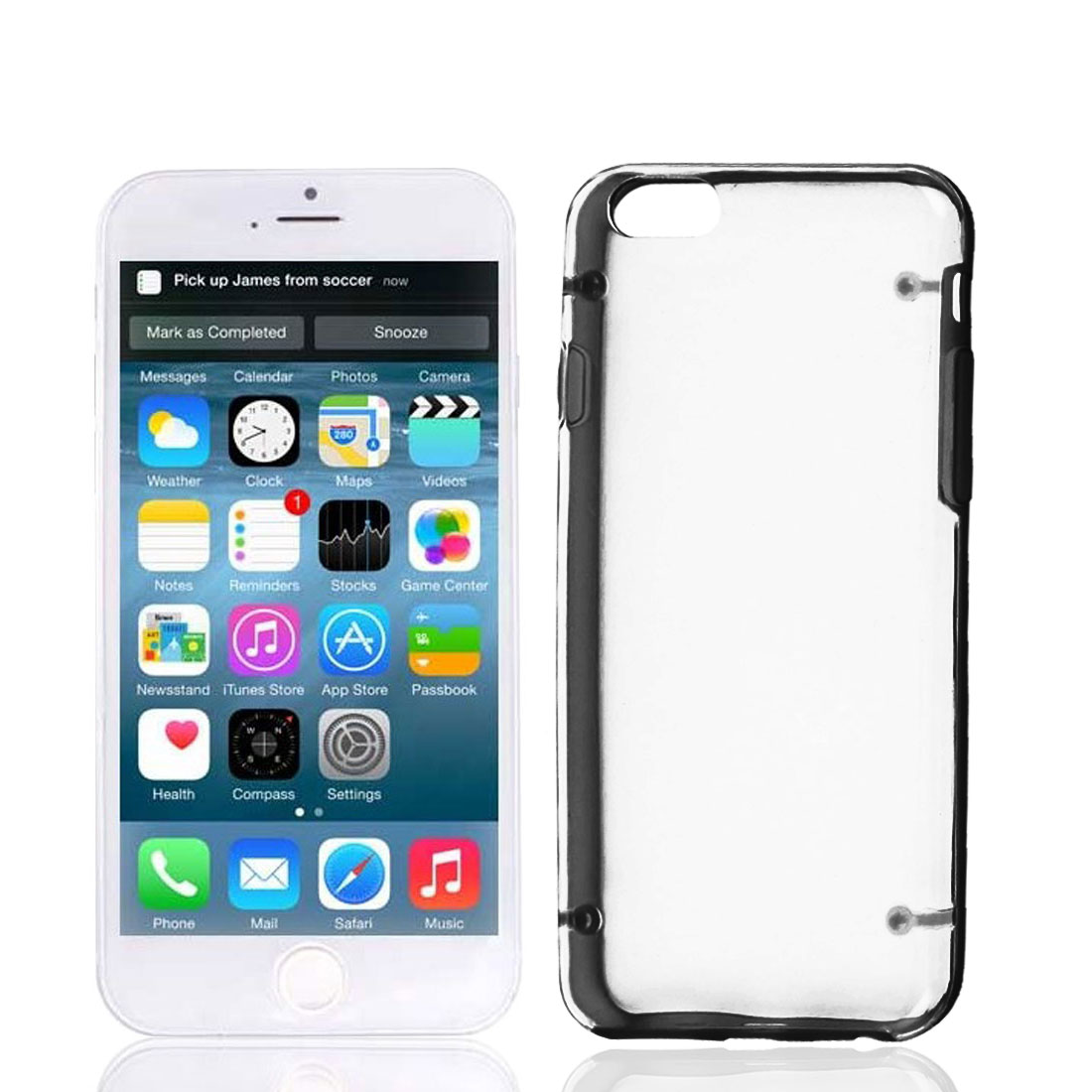 """Clear Back Hard Plastic Glow in Dark Case Cover Black Protector for Apple iPhone 6 4.7"""""""