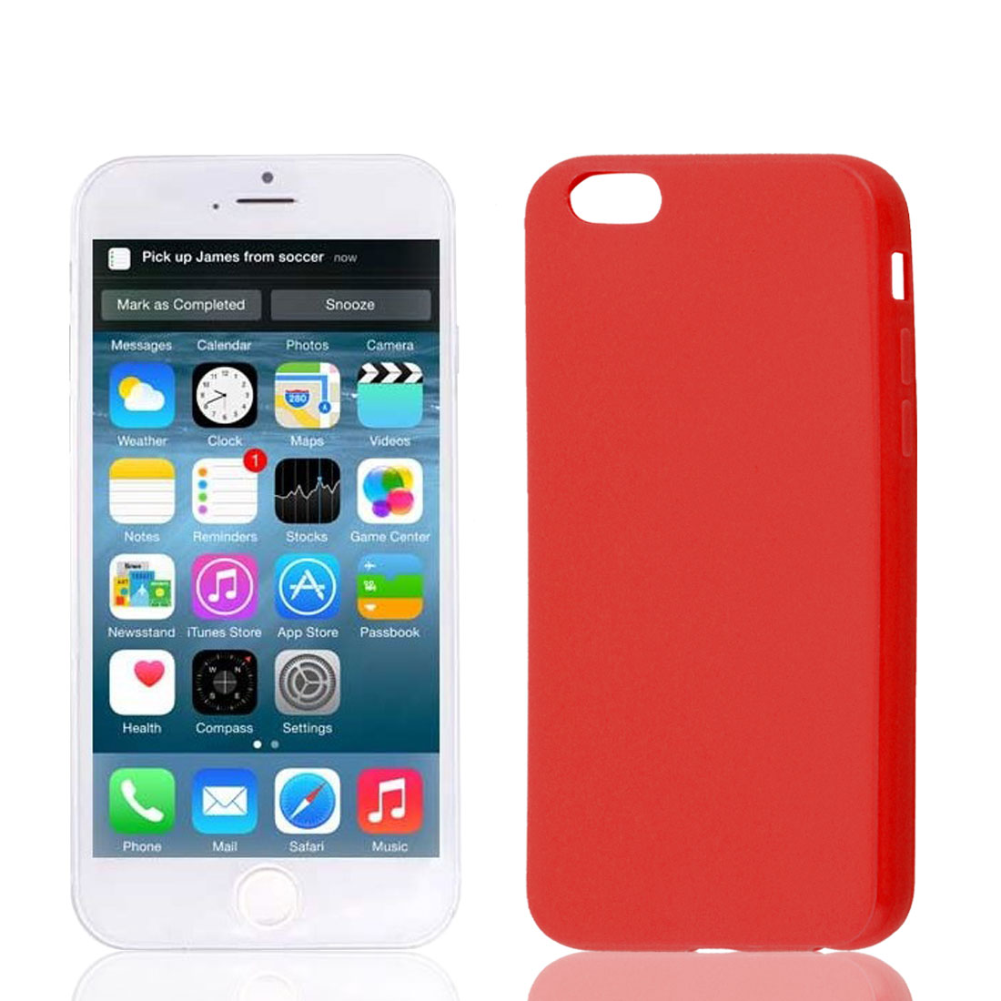 Red Soft Plastic Smooth Case Cover Protector for Apple iPhone 6 6th 4.7""