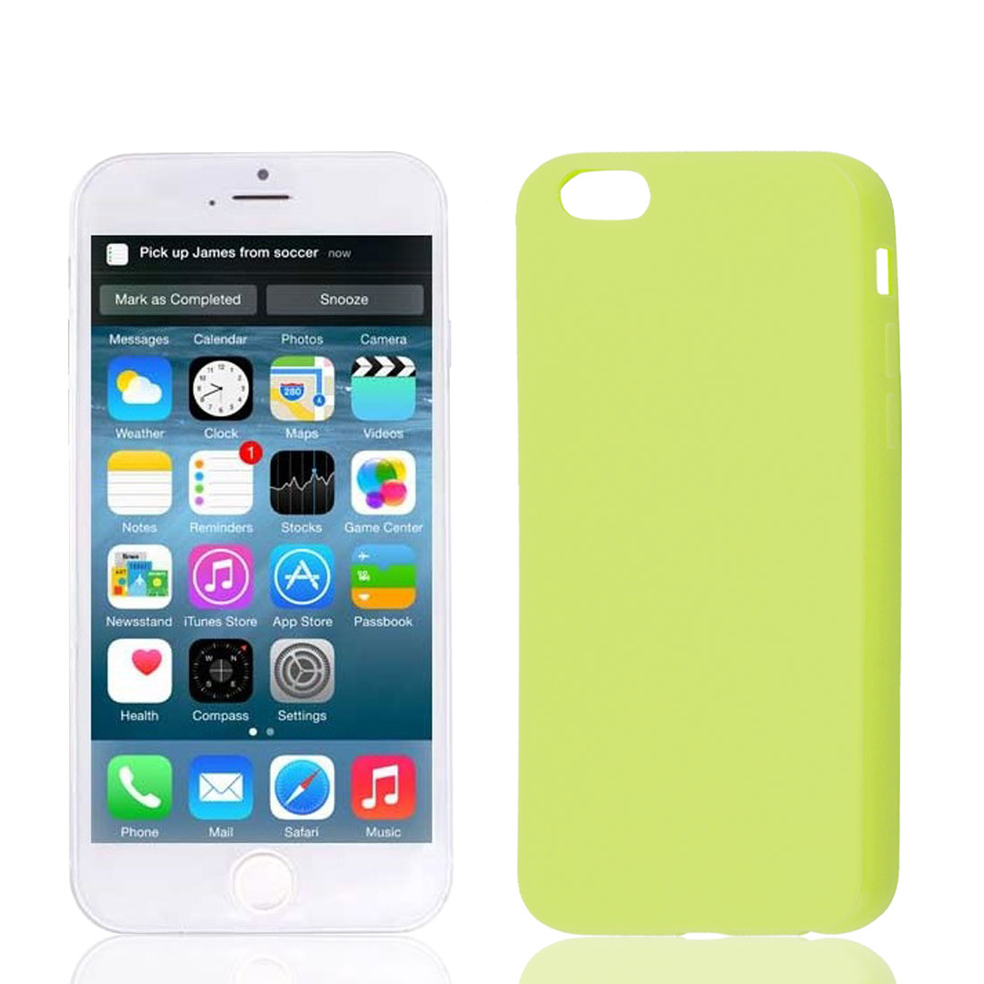 Yellow Green Soft Plastic Smooth Case Cover Protector for Apple iPhone 6G 4.7""