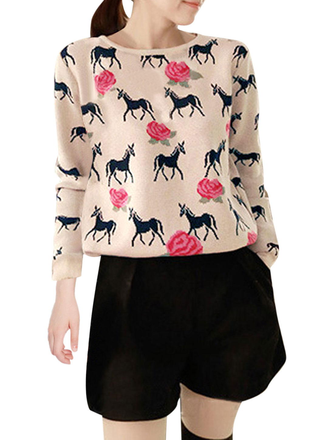 Lady Pullover Floral Horse Pattern Leisure Knit Shirt Beige XS