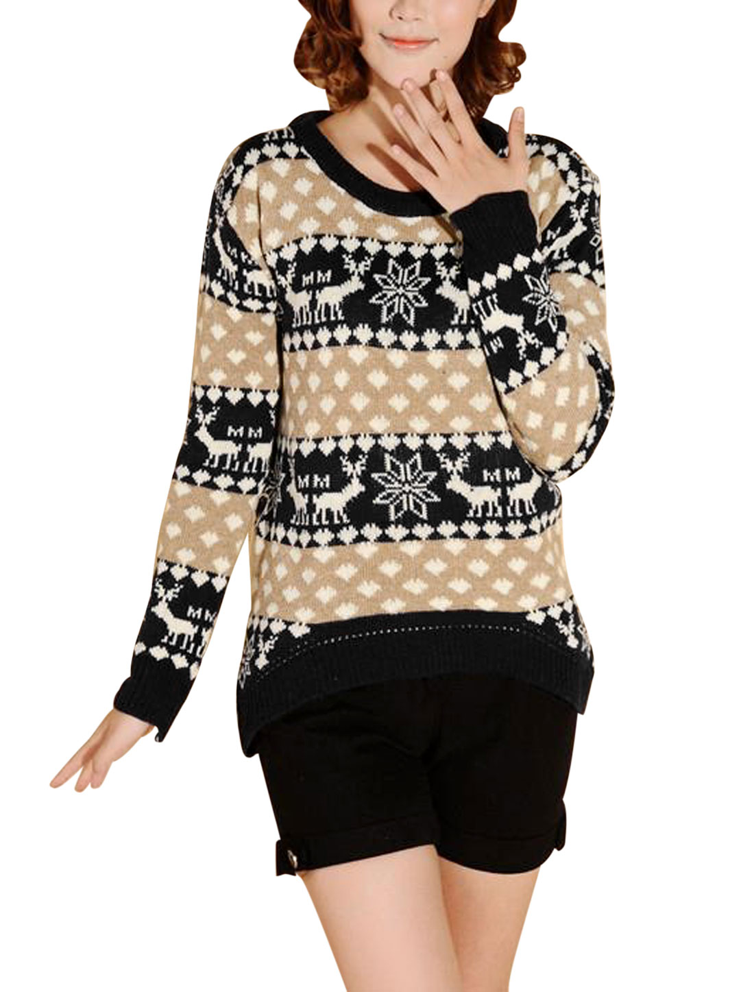 Women Geometric Deer Pattern Low-High Hem Sweater Black Camel S