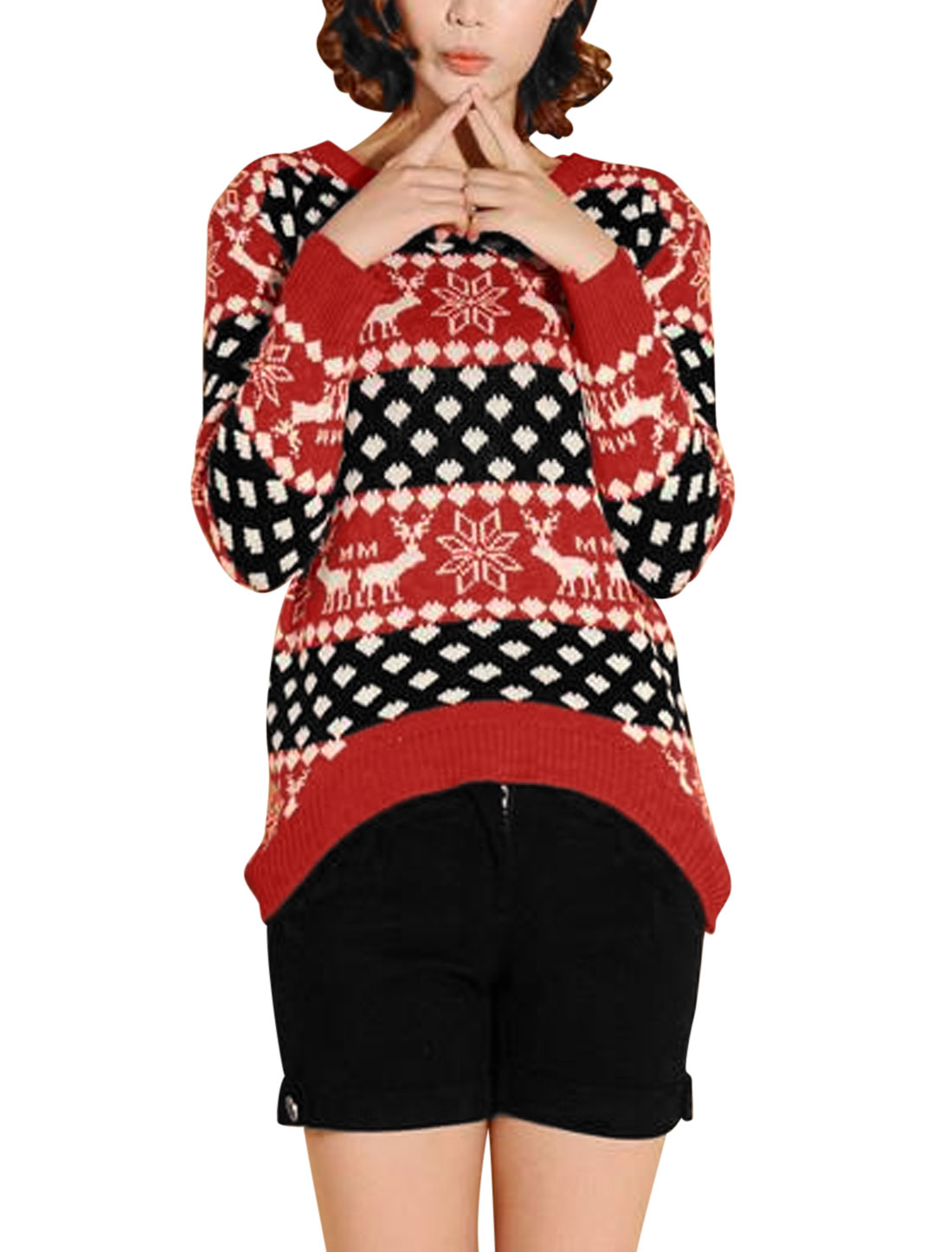 Lady Slipover Long Sleeve Deer Geometric Pattern Sweater Red Black S