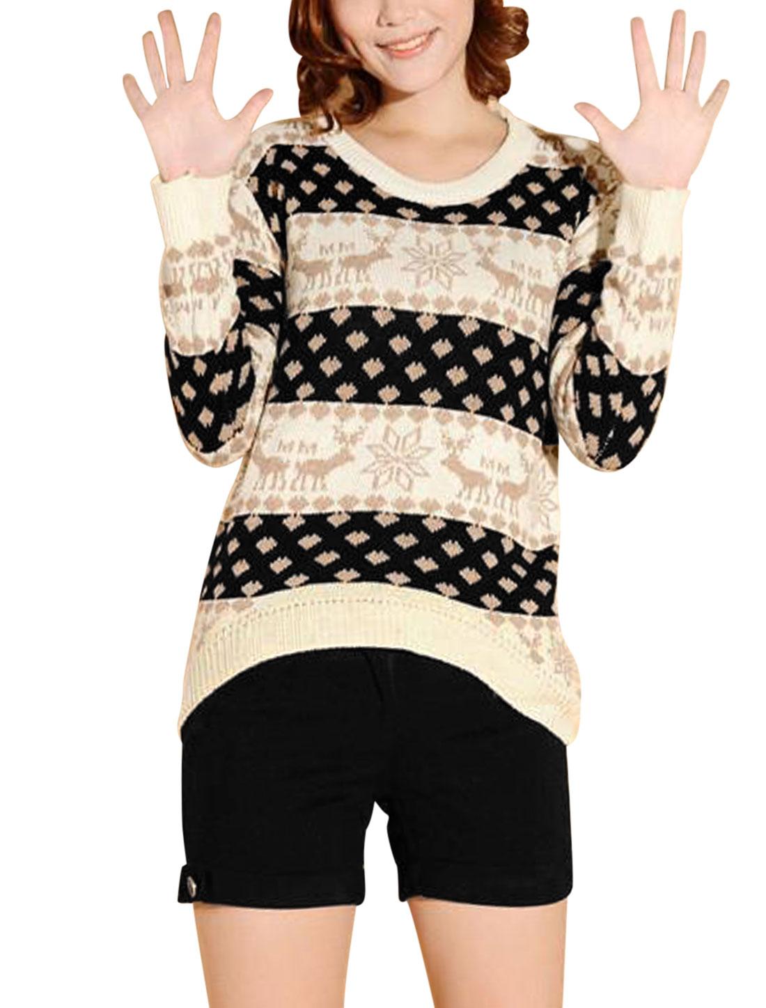 Women Pullover Long Sleeve Asymmetric Hem Sweater Beige Black S