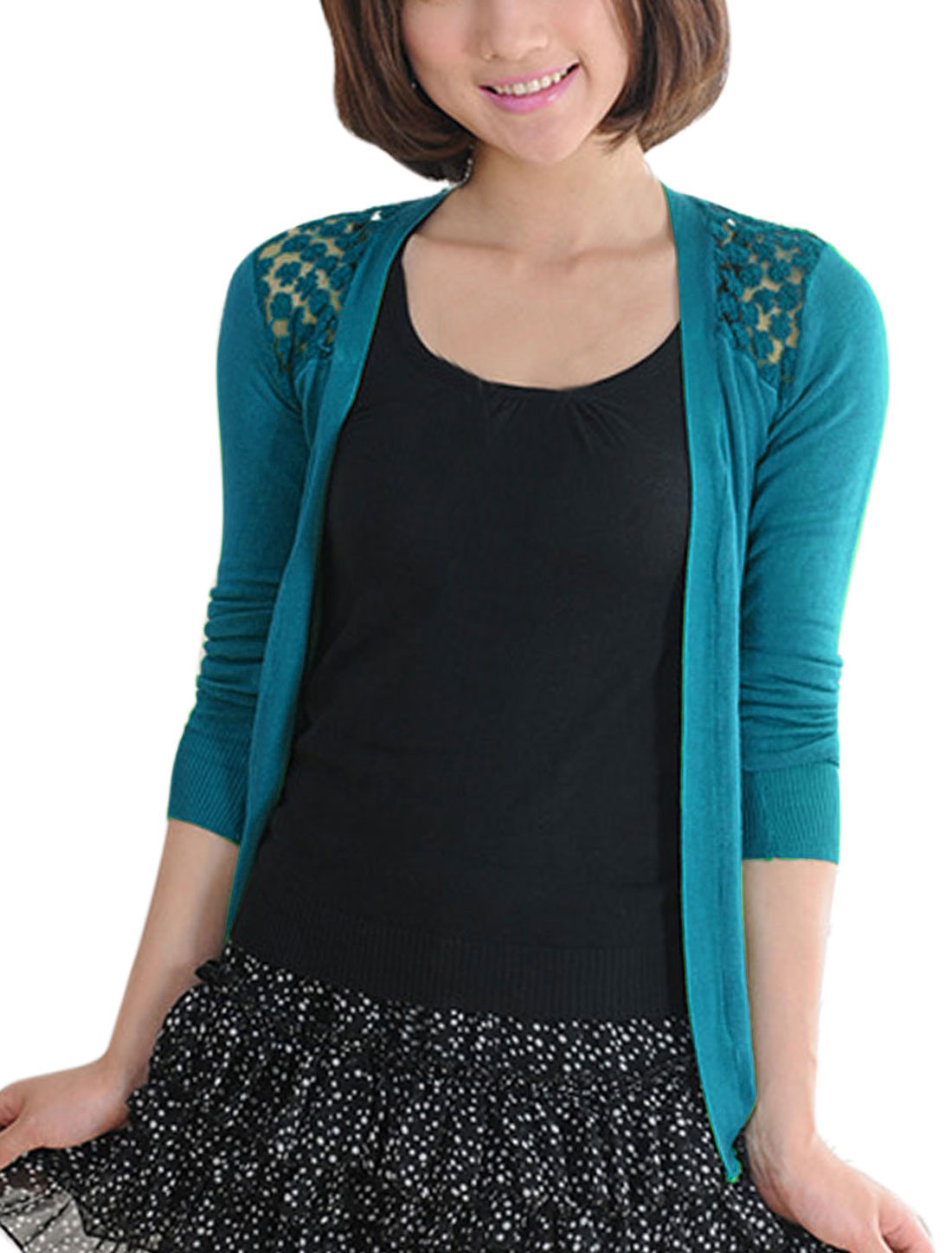 Women Front Opening Lace Panel Asymmetric Hem Cardigan Turquoise XS