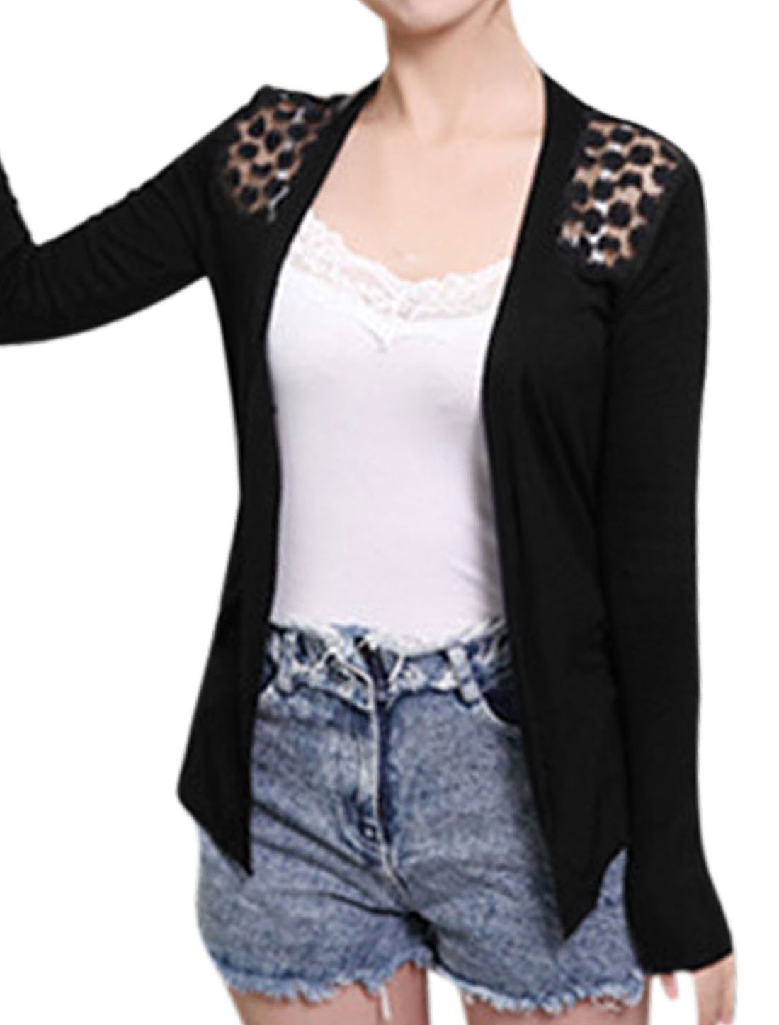 Women Lace Panel Flower Design Detail Asymmetric Hem Cardigan Black XS