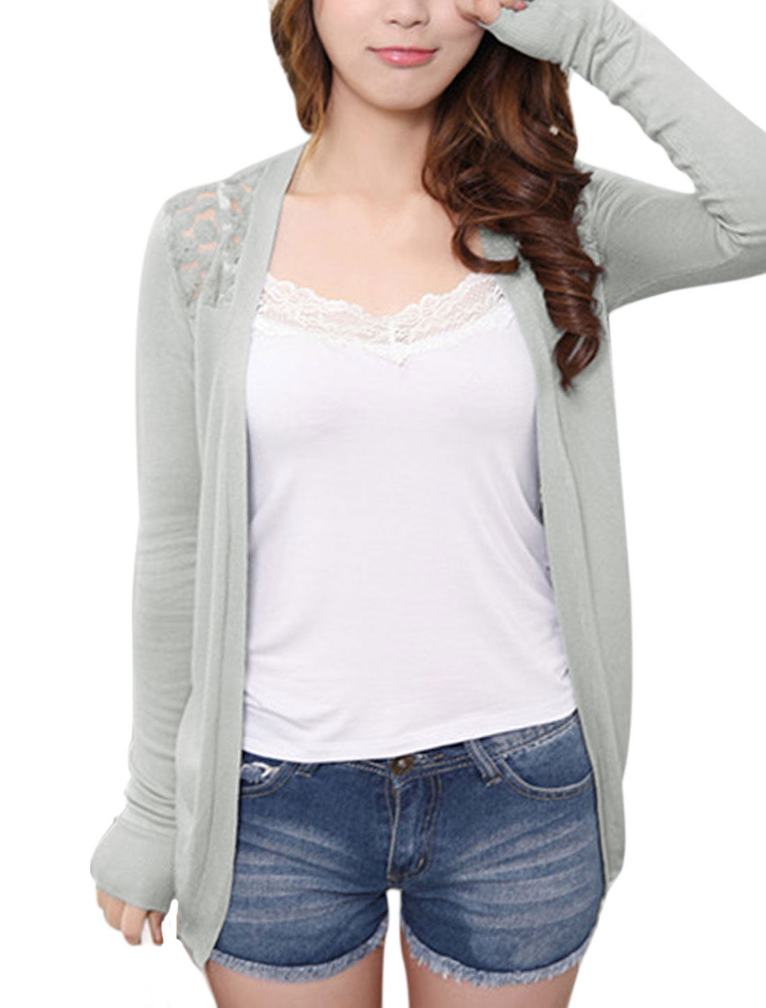 Lady Lace Patchwork Open Front Casual Cardigan Light Gray XS