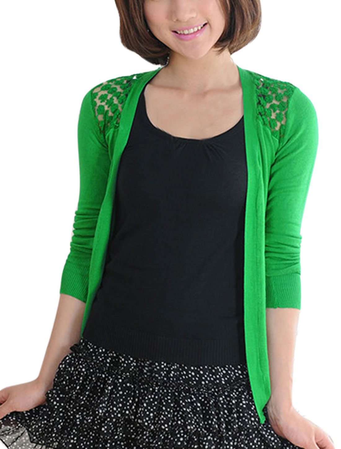 Women Buttonless Front Lace Panel Casual Cardigan Apple Green XS
