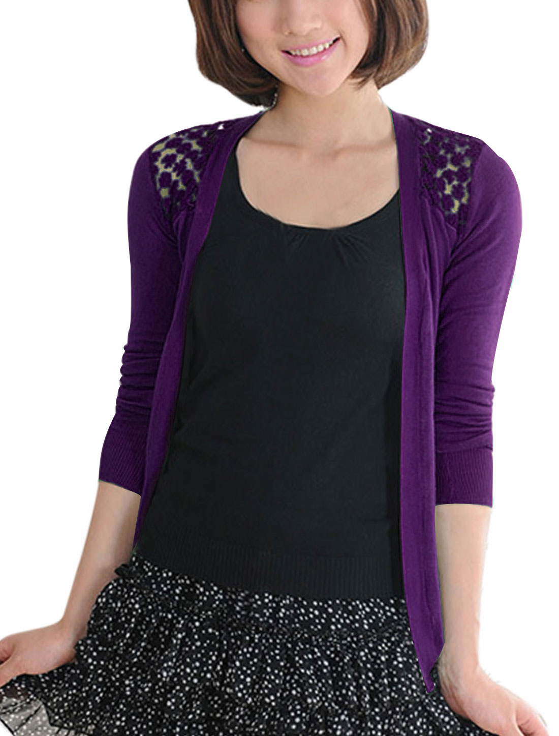 Lady Lace Panel Non-closure Front Casual Cardigan Purple XS