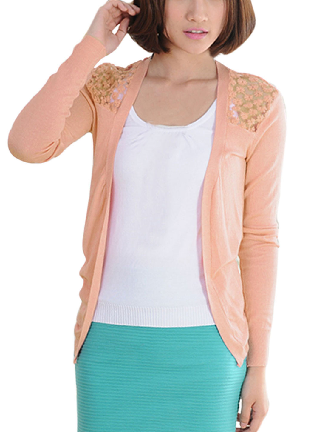 Women Lace Panel Semi Sheer Casual Cardigan Salmon XS