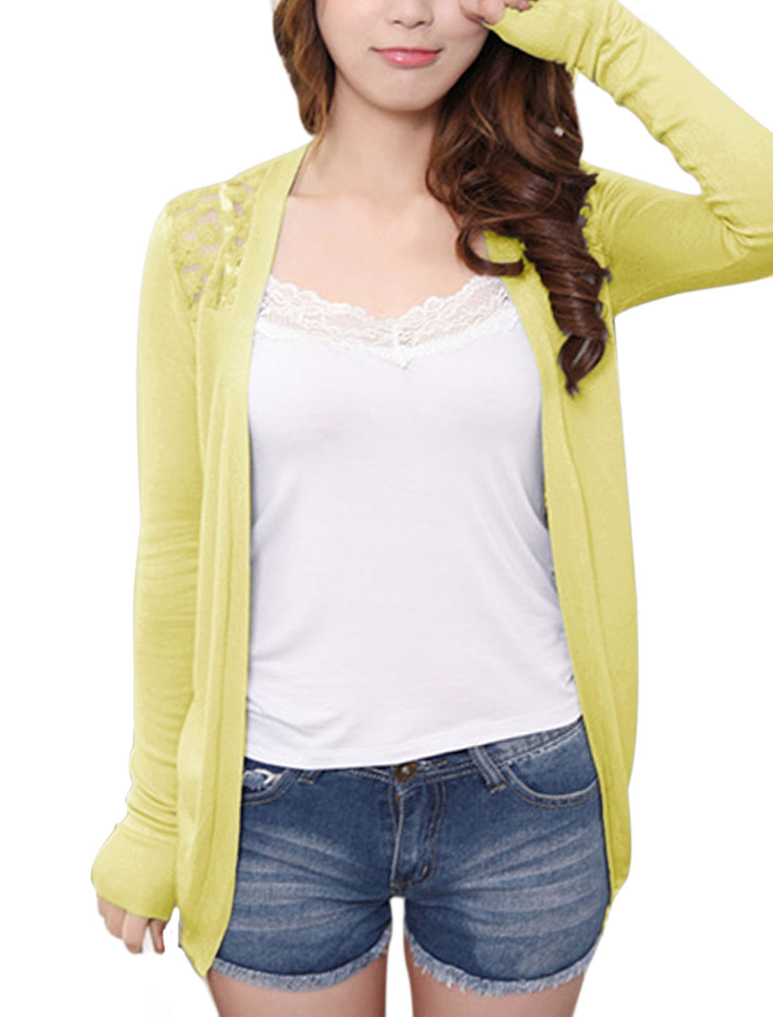Lady Front Opening See Through Casual Cardigan Yellow XS