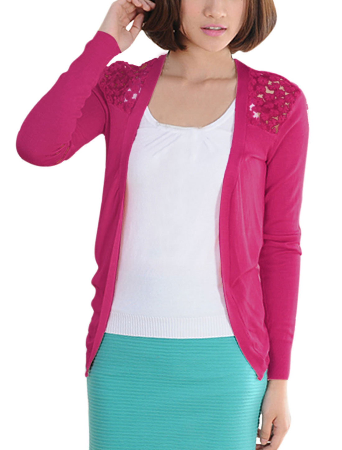 Women Open Front Irregular Hem Casual Cardigan Deep Pink XS